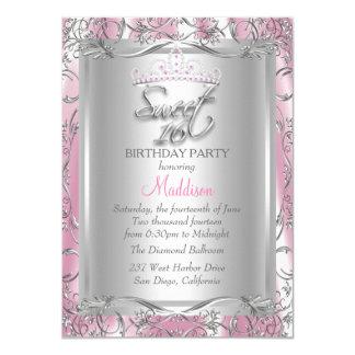 Pink Silk Silver Damask Tiara Sweet 16 Card