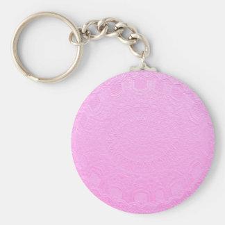 Pink Silken Engraved Look : Add Text or Image Basic Round Button Keychain