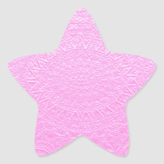 Pink Silken Engraved Look : Add Text or Image Star Sticker