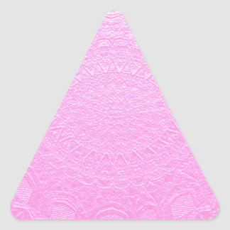 Pink Silken Engraved Look : Add Text or Image Triangle Sticker