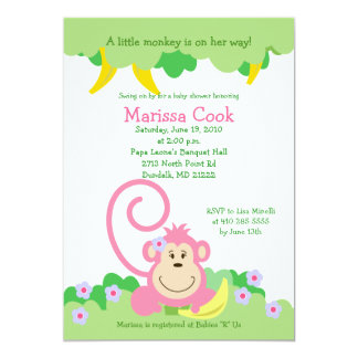 Pink Silly Monkey Jungle Girl Baby Shower 5x7 Card