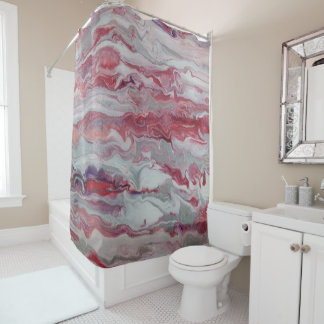 Pink & Silver Abstract Shower Curtain