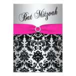Pink, Silver, and Black Damask Bat Mitzvah Invite