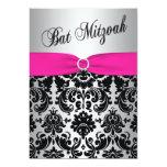 "Pink, Silver, and Black Damask Bat Mitzvah Invite 5"" X 7"" Invitation Card"