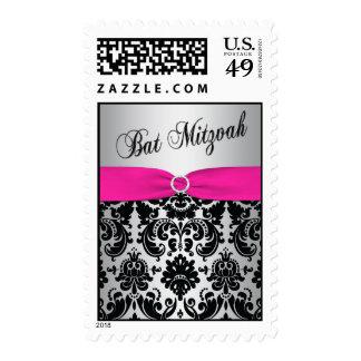 Pink, Silver, and Black Damask Bat Mitzvah Postage