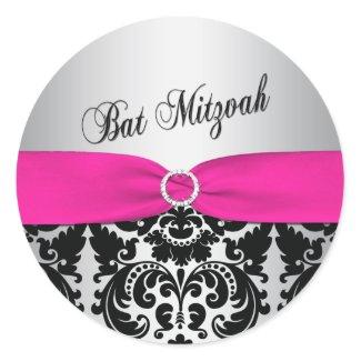 Pink, Silver, and Black Damask Bat Mitzvah Sticker sticker