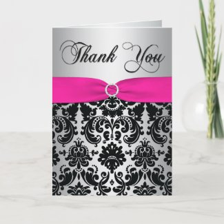 Pink, Silver, and Black Damask Thank You Card card
