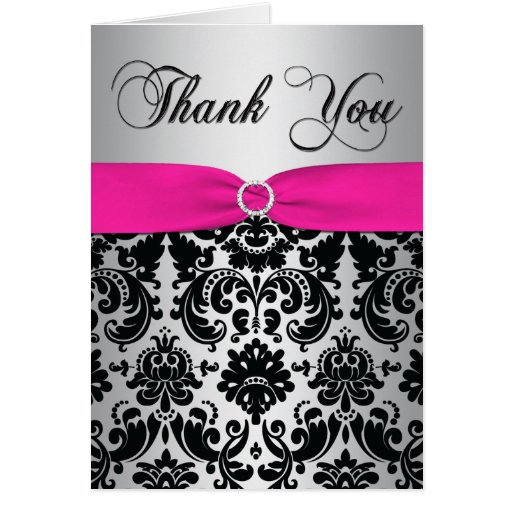 Pink, Silver, and Black Damask Thank You Card Cards