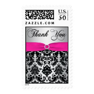Pink, Silver, and Black Damask Thank You Postage