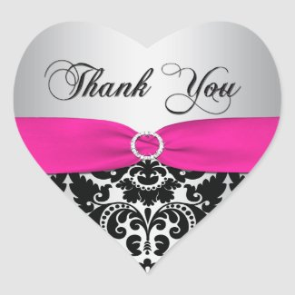 Pink, Silver, and Black Damask Thank You Sticker sticker
