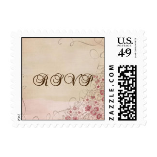 Pink, Silver, and Brown Floral Ribbon RSVP Stamp