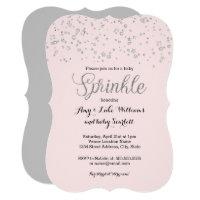 Pink Silver Baby Sprinkle Girl Shower Invite
