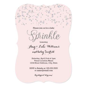 Toddler & Baby themed Pink Silver Baby Sprinkle Girl Shower Invite