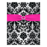 Pink, Silver, Black Damask Bat Mitzvah Reply Card Personalized Announcement
