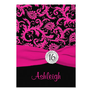 Pink, Silver, Black Damask Sweet 16 Invitation
