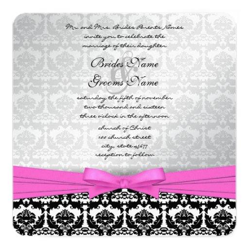 Pink Silver & Black Damask Swirls Wedding Invite