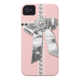 Pink Silver Bow Pearl Jewel Printed iPhone 4 Case