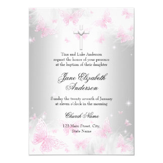 Pink Silver Butterfly Cross Baptism Invite