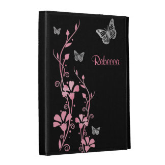 Pink, Silver Butterfly Floral iPad (1,2,3) Folio iPad Case