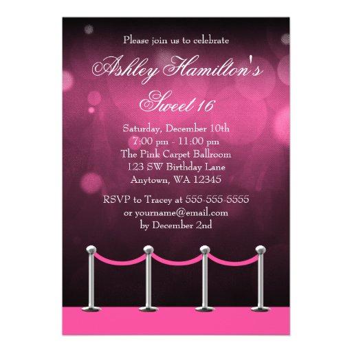 Pink Silver Carpet Hollywood Sweet 16 Birthday Custom Invitations