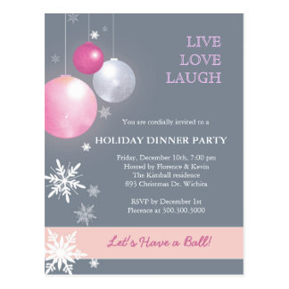 Pink, Silver Christmas Balls Dinner Party Postcard