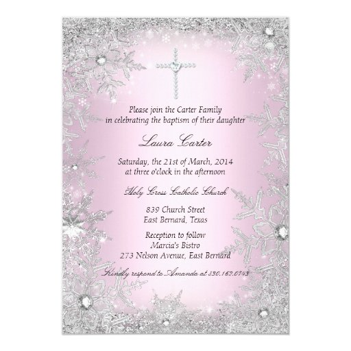 Pink Silver Crystal Snowflake Baptism/Christening 5x7 Paper Invitation Card