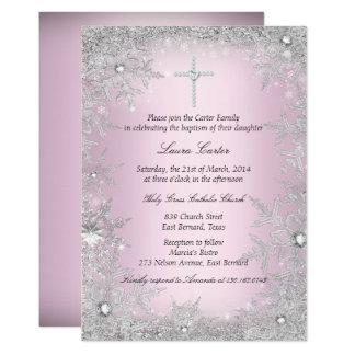 Pink Silver Crystal Snowflake Baptism/Christening Card