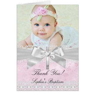 Pink Silver Damask Bow Baptism Thank You Card