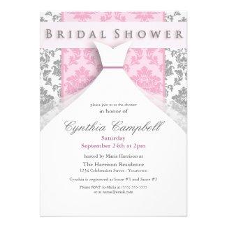 Pink/Silver Damask Bridal Shower Invitations