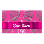 Pink & silver damask business card