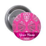 Pink & silver damask button
