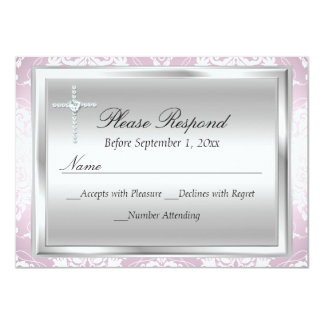 Pink Silver Damask & Cross Baptism RSVP Reply 4.5x6.25 Paper Invitation Card