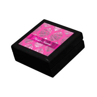 Pink & silver damask keepsake box