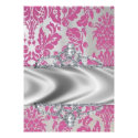 Pink & Silver Damask Invitations