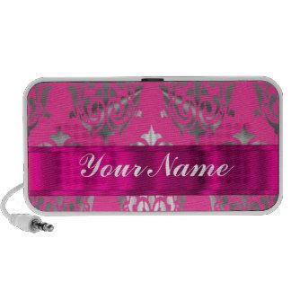 Pink & silver damask mp3 speaker