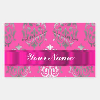 Pink & silver damask rectangular sticker