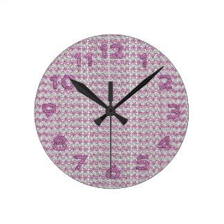 Pink Silver Diamond Studed Gems Round Clock