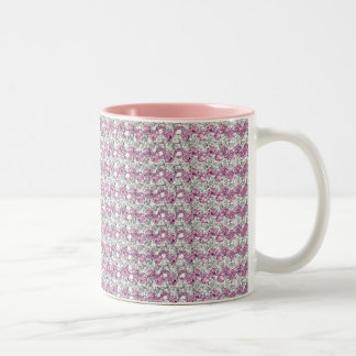 Pink Silver Diamond Studed Gems Two-Tone Coffee Mug