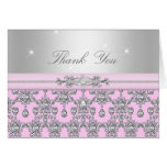 Pink & Silver Diamond Thank You Card