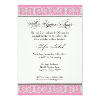 Pink & Silver, Diamonds & Lace, Mis Quince Anos Card