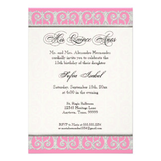 Pink Silver Diamonds Lace Mis Quince Anos Personalized Announcements