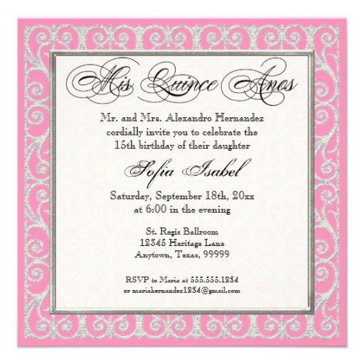 Pink & Silver, Diamonds & Lace, Mis Quince Anos 5.25x5.25 Square Paper Invitation Card   Zazzle
