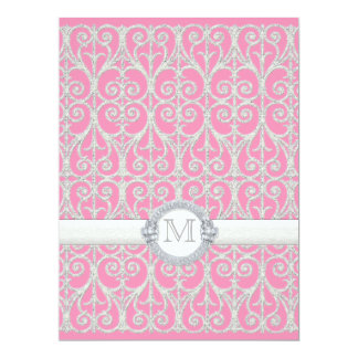 Pink Silver, Diamonds & Lace, Monogrammed Wedding Invites