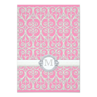 Pink Silver, Diamonds & Lace, Monogrammed Wedding Personalized Invite