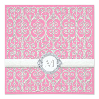 Pink Silver, Diamonds & Lace, Monogrammed Wedding Custom Invitations