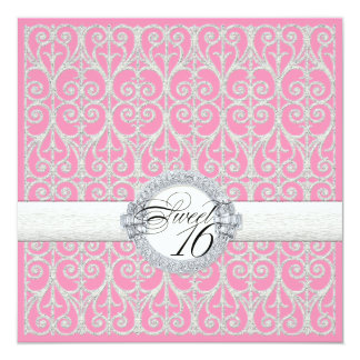 Pink & Silver, Diamonds & Lace, Sweet Sixteen 16 Card