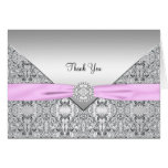 Pink Silver Elegant Thank You Card