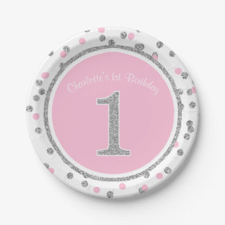 Pink Silver Faux Glitter Confetti 1st Birthday Paper Plate