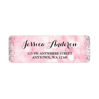Pink Silver Faux Glitter Lights Label