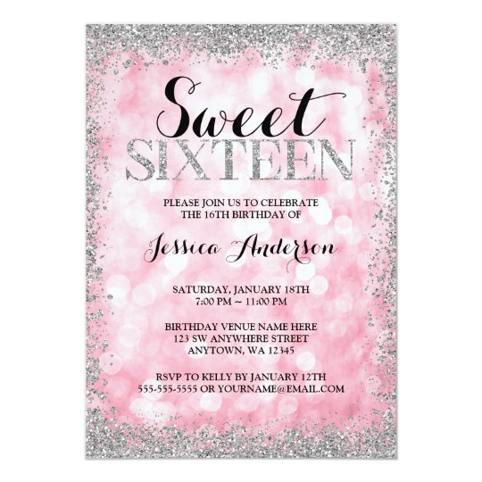 pink silver faux glitter lights sweet 16 birthday invitation